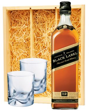 Johnnie Walker Black Label & 2 glazen
