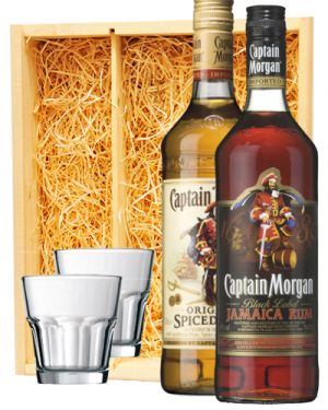 Captain Morgan Spiced & Black Rum + 2 luxe rum glazen