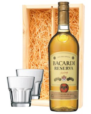 Bacardi Reserva + 2 luxe rum glazen