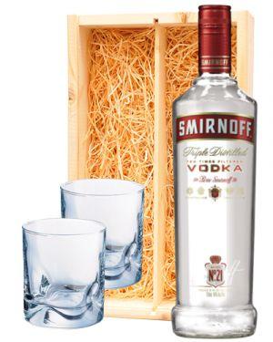 Smirnoff Vodka Red + 2 luxe vodka glazen