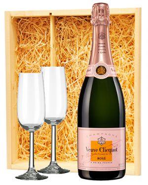 Veuve Clicquot Champagne Rosé + 2 flutes