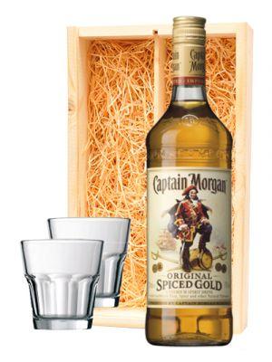 Captain Morgan Spiced Rum + 2 luxe rum glazen
