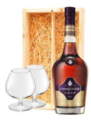 Courvoisier Cognac VSOP + 2 cognac glazen