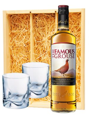 Famous Grouse Scotch whisky + 2 whisky glazen