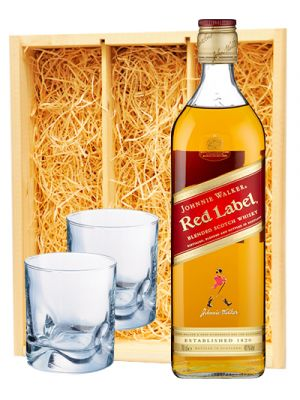 Johnnie Walker Red Label & 2 whisky glazen