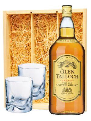 Glen Talloch Scotch whisky & 2 whisky glazen