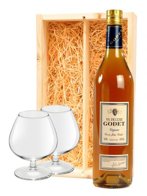 Godet Cognac VS Cuvee Jean + 2 cognac glazen