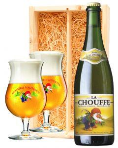La Chouffe Stevig Blond + 2 La Chouffe glazen
