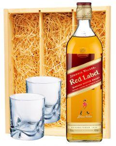 Johnnie Walker Red Label & 2 whisky glazen