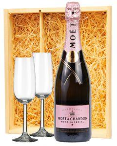 Moët & Chandon Champagne Rosé + 2 flutes
