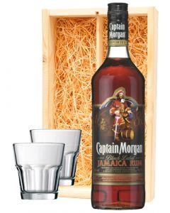 Captain Morgan Black Rum + 2 luxe rum glazen